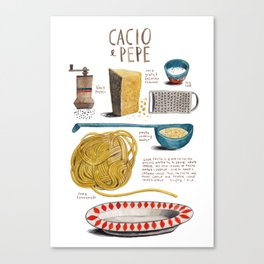 illustrated recipes: cacio e pepe Canvas Print