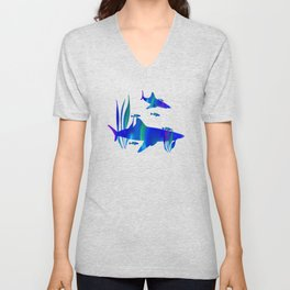 Sharks swimming with fish Unisex V-Neck