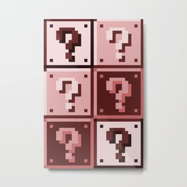 Sepia ? Question mark Super Mario Bros. blocks Metal Print