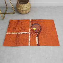 Tennis racket with ball on tennis court Rug