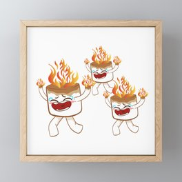 """Nice Fire Camping Shirt For Campers """"Happy Camper"""" T-shirt Design Marshmallow Chair Bonfire Framed Mini Art Print"""