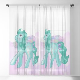 g1 my little pony Galaxy and Flutter ponies Sheer Curtain