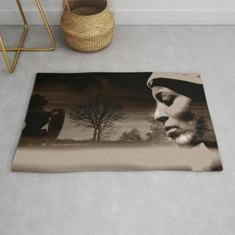 TALK TO THE LION... - sepia Rug