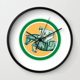 Equestrian Show Jumping Side Circle Retro Wall Clock