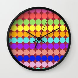 Stylized round multi-colored flowers (red background) Wall Clock