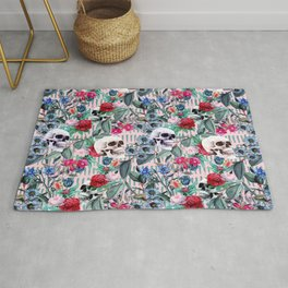Flowers and Skulls (Pink) Rug