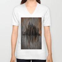 metropolis V-neck T-shirts featuring Metropolis by Robin Curtiss