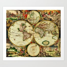Ancient World Map 1689 Art Print