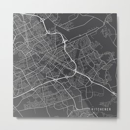 Kitchener Map, Canada - Gray Metal Print