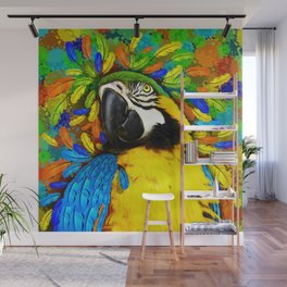 Gold and Blue Macaw Parrot Fantasy Wall Mural