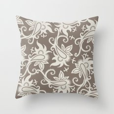 Paisley: Taupe  Throw Pillow