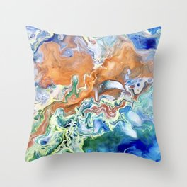 Singularity, Abstract Fluid Acrylic Pour  Throw Pillow