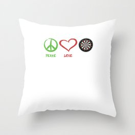 Funny Peace Love Darts Dart Player Sports Throw Pillow