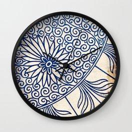 Blue Oriental Vintage Tile 01 Wall Clock