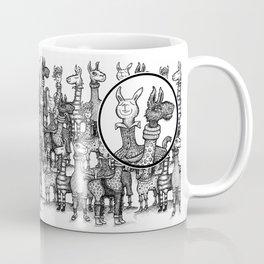 A Crowd of Llamas in Pajamas by dotsofpaint Coffee Mug