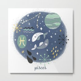 Pisces Water Metal Print