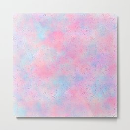 Artistic abstract magenta pink teal watercolor Metal Print