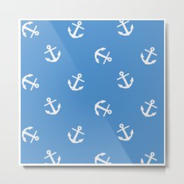 WHITE ANCHORS ON BLUE 2 Metal Print