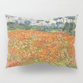 Poppy Field by Vincent van Gogh, 1890 painting Pillow Sham