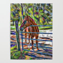 Abstract horse standing at gate Poster