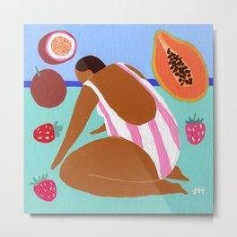 Pink papaya passionfruit Metal Print