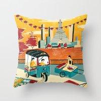 thailand Throw Pillows featuring Bangkok, Thailand by Sam Brewster