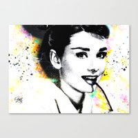 audrey hepburn Canvas Prints featuring AUDREY HEPBURN by Vertigo