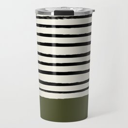 Olive Green x Stripes Travel Mug