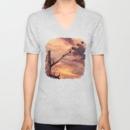 Picturly Purple Sky Leafless Branches and Birds Unisex V-Neck