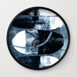 Mid Century Modern Abstract Cocoons in Blue Wall Clock