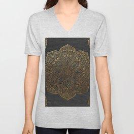 Wood Mandala - Gold Unisex V-Neck