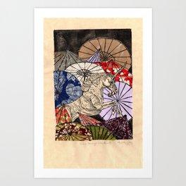 Unicorn Amongst Umbrellas XVII Art Print