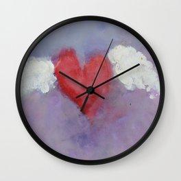 flying heart encaustic Wall Clock