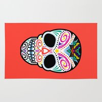 mexican Area & Throw Rugs featuring Mexican Skull by Blank & Vøid