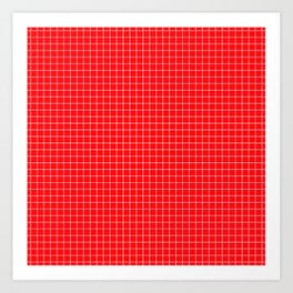 Red Grid White Line Art Print