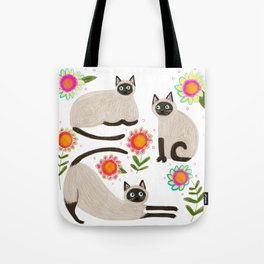 Siamese Cats and flowers Tote Bag