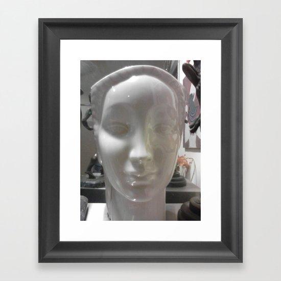 white face Framed Art Print