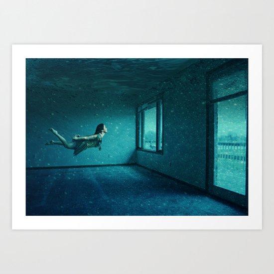 swimming girl Art Print