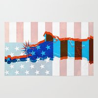patriots Area & Throw Rugs featuring statue of liberty / USA by Marta Olga Klara