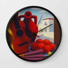 Vintage Spain Travel Poster - Guitar Wall Clock