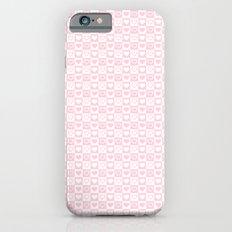Light Soft Pastel Pink & White Love Hearts iPhone 6s Slim Case
