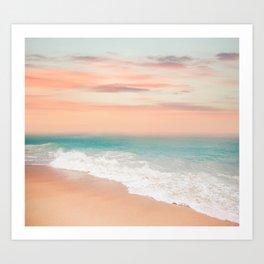Beach Scene, Waves Crashing on Sand, Beautiful Sky Art Print