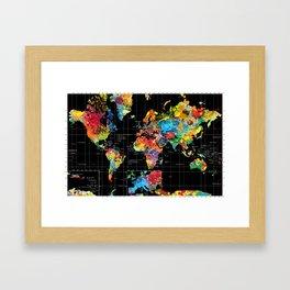 World Map Black - 1 Framed Art Print