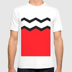 Geometric abstract - zigzag, red, black and white. Mens Fitted Tee MEDIUM White