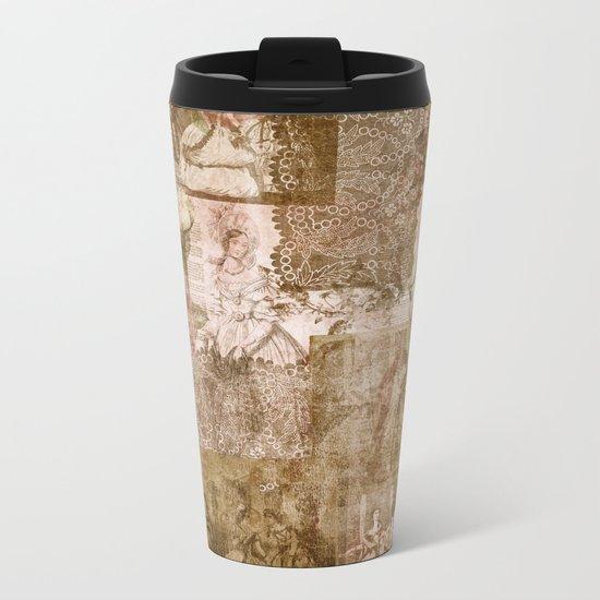 Vintage & Shabby Chic- Victorian ladies pattern Metal Travel Mug