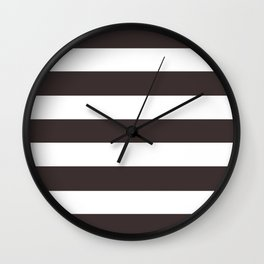 Black coffee - solid color - white stripes pattern Wall Clock