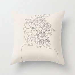 Woman with Flowers Minimal Line I Throw Pillow