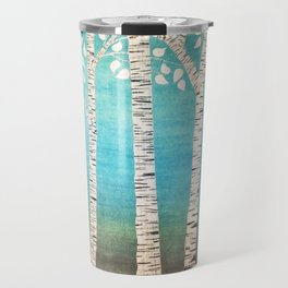 Turquoise birch forest Travel Mug