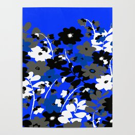 SUNFLOWER TRELLIS BLUE BLACK GRAY AND WHITE TOILE Poster