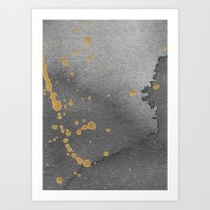 Gray and gold Art Print